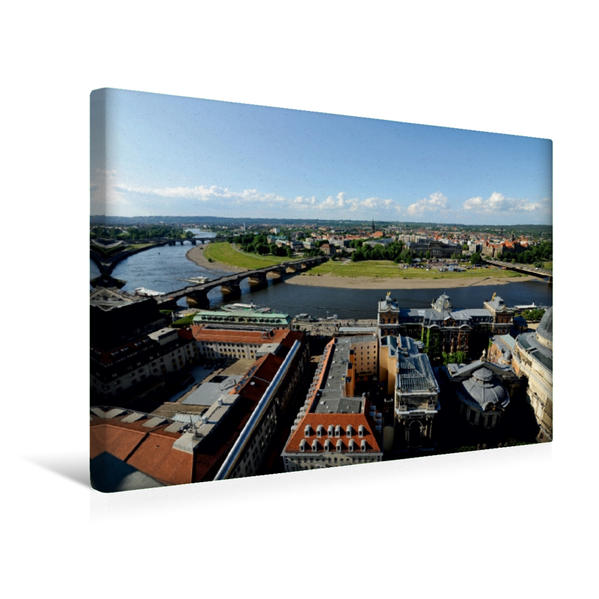 Premium Textil-Leinwand 45 cm x 30 cm quer, Ein Motiv aus dem Kalender Blick auf Dresden | Wandbild, Bild auf Keilrahmen, Fertigbild auf echter Leinwand, Leinwanddruck - Coverbild