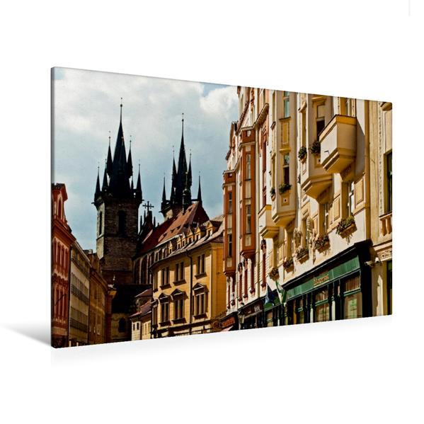 Premium Textil-Leinwand 120 cm x 80 cm quer, Teynkirche | Wandbild, Bild auf Keilrahmen, Fertigbild auf echter Leinwand, Leinwanddruck - Coverbild