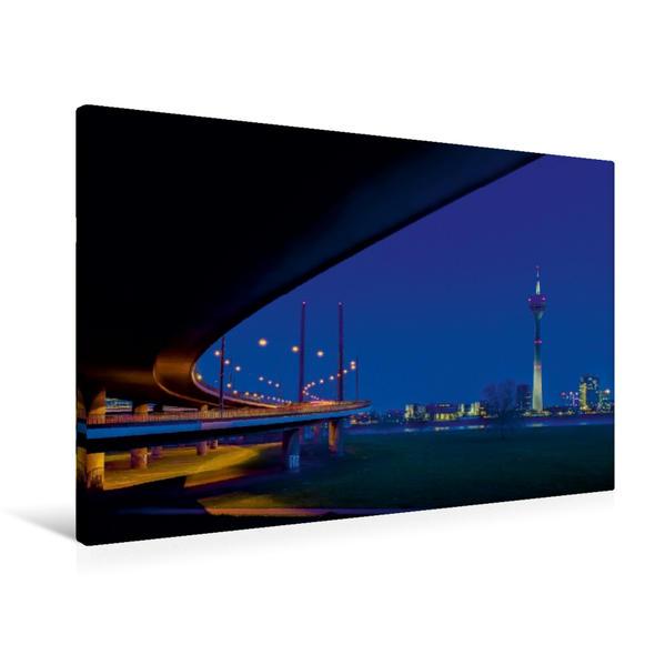Premium Textil-Leinwand 90 cm x 60 cm quer, Rheinkniebrücke und der Rheinturm -2 | Wandbild, Bild auf Keilrahmen, Fertigbild auf echter Leinwand, Leinwanddruck - Coverbild