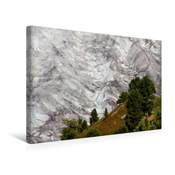 Premium Textil-Leinwand 45 cm x 30 cm quer, Blick auf den Aletsch-Gletscher | Wandbild, Bild auf Keilrahmen, Fertigbild auf echter Leinwand, Leinwanddruck - Coverbild