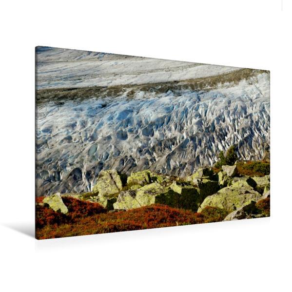 Premium Textil-Leinwand 120 cm x 80 cm quer, Aufsicht Gletscher | Wandbild, Bild auf Keilrahmen, Fertigbild auf echter Leinwand, Leinwanddruck - Coverbild
