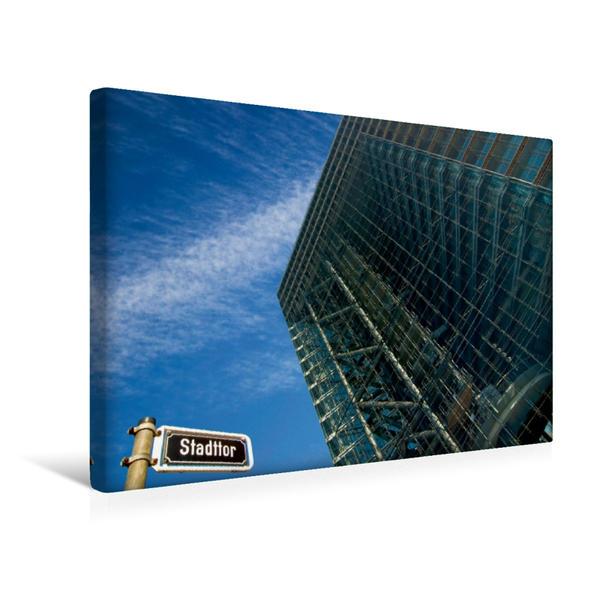 Premium Textil-Leinwand 45 cm x 30 cm quer, Stadttor - Regierungssitz NRW   Wandbild, Bild auf Keilrahmen, Fertigbild auf echter Leinwand, Leinwanddruck - Coverbild