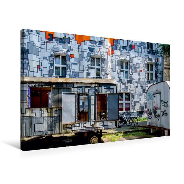 Premium Textil-Leinwand 75 cm x 50 cm quer, Fassadenkunst - I | Wandbild, Bild auf Keilrahmen, Fertigbild auf echter Leinwand, Leinwanddruck - Coverbild