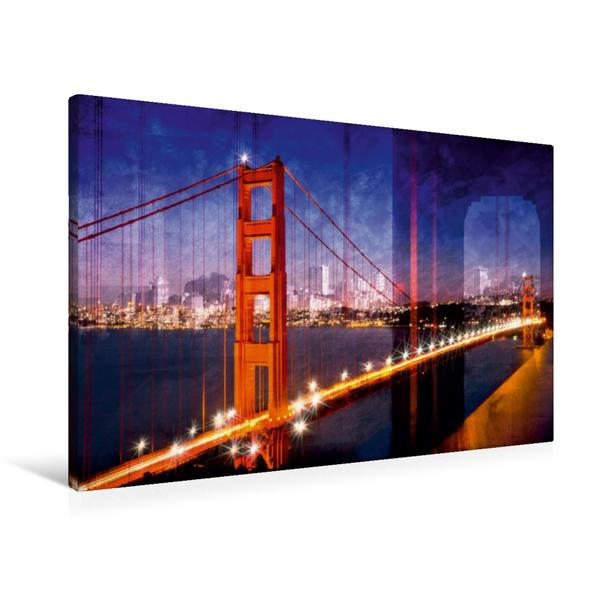 Premium Textil-Leinwand 90 cm x 60 cm quer, SAN FRANCISCO Skyline und Golden Gate Bridge | Wandbild, Bild auf Keilrahmen, Fertigbild auf echter Leinwand, Leinwanddruck - Coverbild