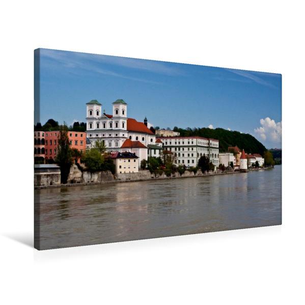 Premium Textil-Leinwand 75 cm x 50 cm quer, Altstadt Passaus am Inn | Wandbild, Bild auf Keilrahmen, Fertigbild auf echter Leinwand, Leinwanddruck - Coverbild