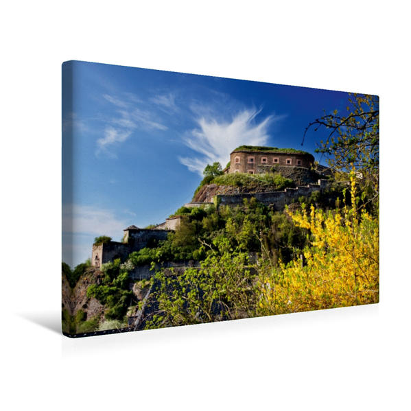 Premium Textil-Leinwand 45 cm x 30 cm quer, Festung Ehrenbreitstein | Wandbild, Bild auf Keilrahmen, Fertigbild auf echter Leinwand, Leinwanddruck - Coverbild