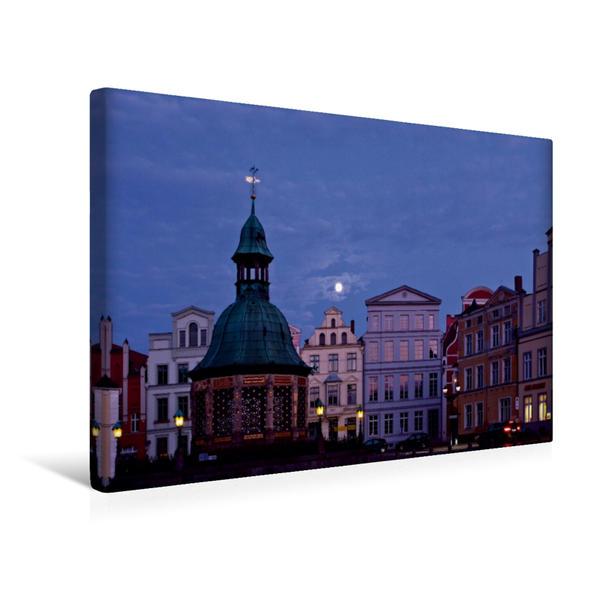 Premium Textil-Leinwand 45 cm x 30 cm quer, Wismar, Wasserkunst | Wandbild, Bild auf Keilrahmen, Fertigbild auf echter Leinwand, Leinwanddruck - Coverbild