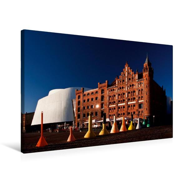 Premium Textil-Leinwand 75 cm x 50 cm quer, Stralsund, Hafenkai | Wandbild, Bild auf Keilrahmen, Fertigbild auf echter Leinwand, Leinwanddruck - Coverbild