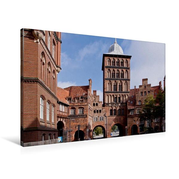 Premium Textil-Leinwand 90 cm x 60 cm quer, Lübeck, Burgtor | Wandbild, Bild auf Keilrahmen, Fertigbild auf echter Leinwand, Leinwanddruck - Coverbild
