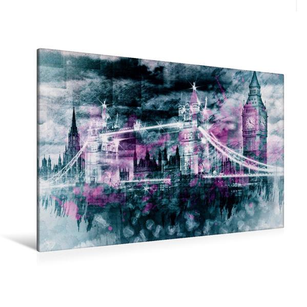 Premium Textil-Leinwand 120 cm x 80 cm quer, LONDON Collage | Wandbild, Bild auf Keilrahmen, Fertigbild auf echter Leinwand, Leinwanddruck - Coverbild