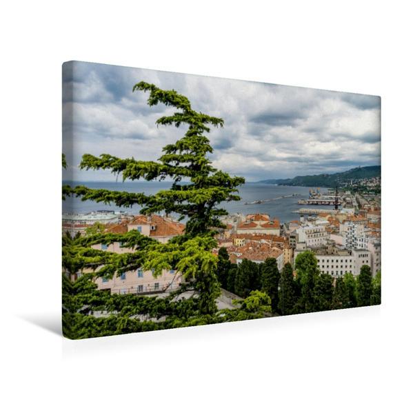 Premium Textil-Leinwand 45 cm x 30 cm quer, Triest, alter Hafen | Wandbild, Bild auf Keilrahmen, Fertigbild auf echter Leinwand, Leinwanddruck - Coverbild