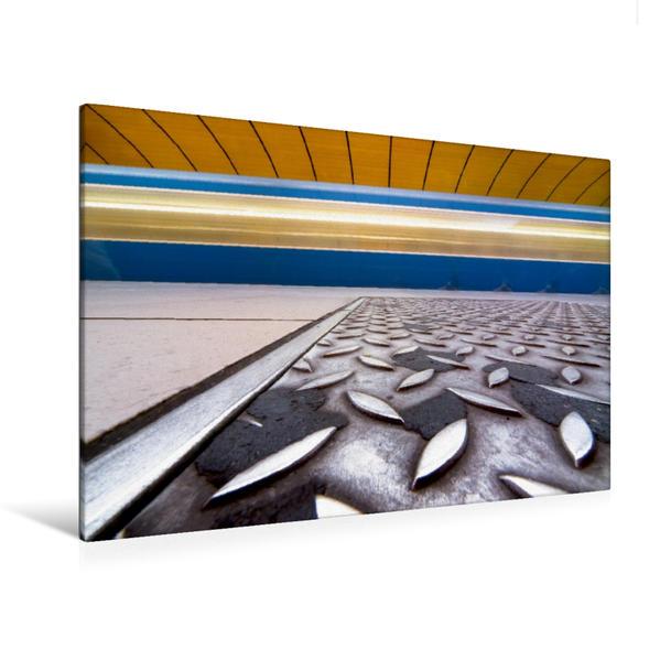 Premium Textil-Leinwand 120 cm x 80 cm quer, Münchner U-Bahnstation Marienplatz kreativ | Wandbild, Bild auf Keilrahmen, Fertigbild auf echter Leinwand, Leinwanddruck - Coverbild