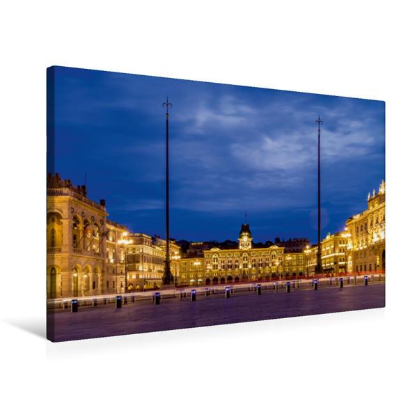 Premium Textil-Leinwand 75 cm x 50 cm quer, Triest, Piazza Unita d'Italia | Wandbild, Bild auf Keilrahmen, Fertigbild auf echter Leinwand, Leinwanddruck - Coverbild