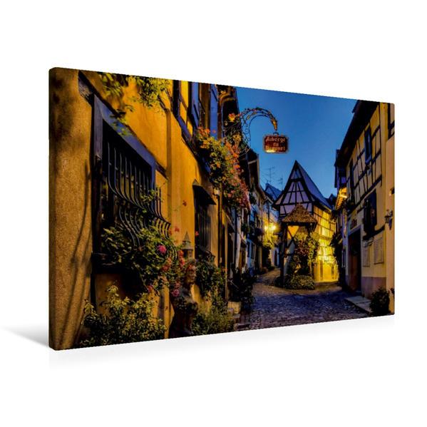 Premium Textil-Leinwand 90 cm x 60 cm quer, Eguisheim   Wandbild, Bild auf Keilrahmen, Fertigbild auf echter Leinwand, Leinwanddruck - Coverbild