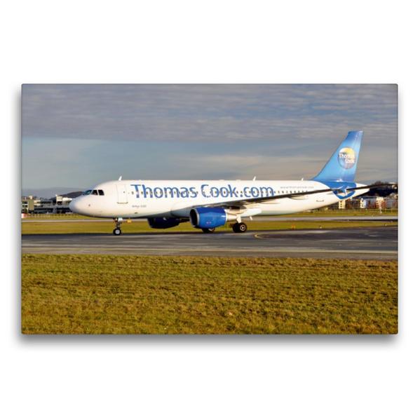 Premium Textil-Leinwand 75 cm x 50 cm quer, Thomas Cook Airline | Wandbild, Bild auf Keilrahmen, Fertigbild auf echter Leinwand, Leinwanddruck - Coverbild