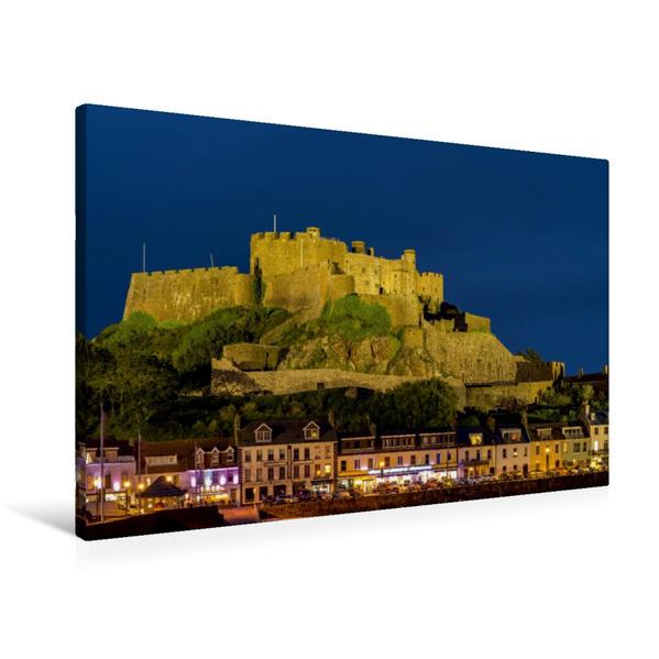Premium Textil-Leinwand 90 cm x 60 cm quer, Jersey, Mont Orgeuil Castle | Wandbild, Bild auf Keilrahmen, Fertigbild auf echter Leinwand, Leinwanddruck - Coverbild
