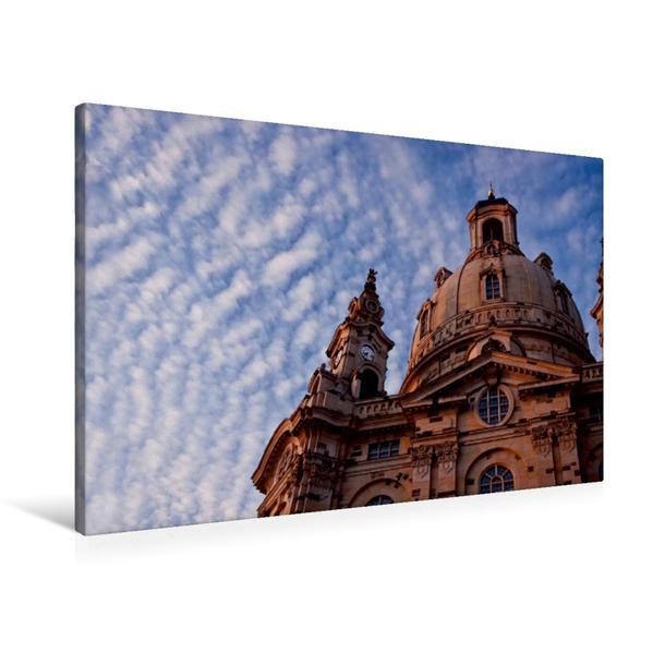 Premium Textil-Leinwand 90 cm x 60 cm quer, Frauenkirche | Wandbild, Bild auf Keilrahmen, Fertigbild auf echter Leinwand, Leinwanddruck - Coverbild