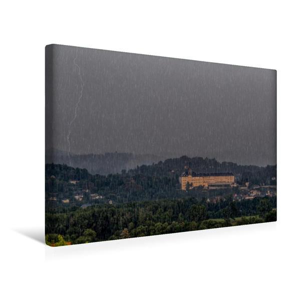 Premium Textil-Leinwand 45 cm x 30 cm quer, Gewitter über Rudolstadt   Wandbild, Bild auf Keilrahmen, Fertigbild auf echter Leinwand, Leinwanddruck - Coverbild