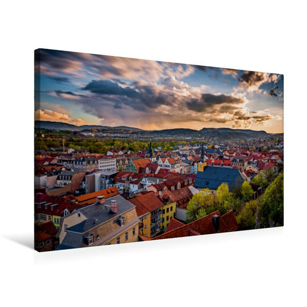 Premium Textil-Leinwand 75 cm x 50 cm quer, Blick über Rudolstadt   Wandbild, Bild auf Keilrahmen, Fertigbild auf echter Leinwand, Leinwanddruck - Coverbild
