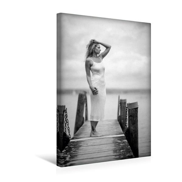 Premium Textil-Leinwand 30 cm x 45 cm hoch, Ein Motiv aus dem Kalender Damenmode in schwarz und weiß   Wandbild, Bild auf Keilrahmen, Fertigbild auf echter Leinwand, Leinwanddruck - Coverbild