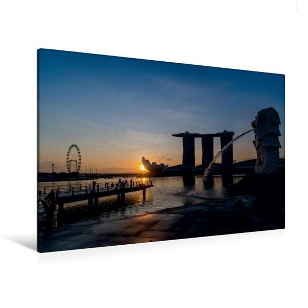 Premium Textil-Leinwand 120 cm x 80 cm quer, Sonnenaufgang am Merlion in Singapur | Wandbild, Bild auf Keilrahmen, Fertigbild auf echter Leinwand, Leinwanddruck - Coverbild
