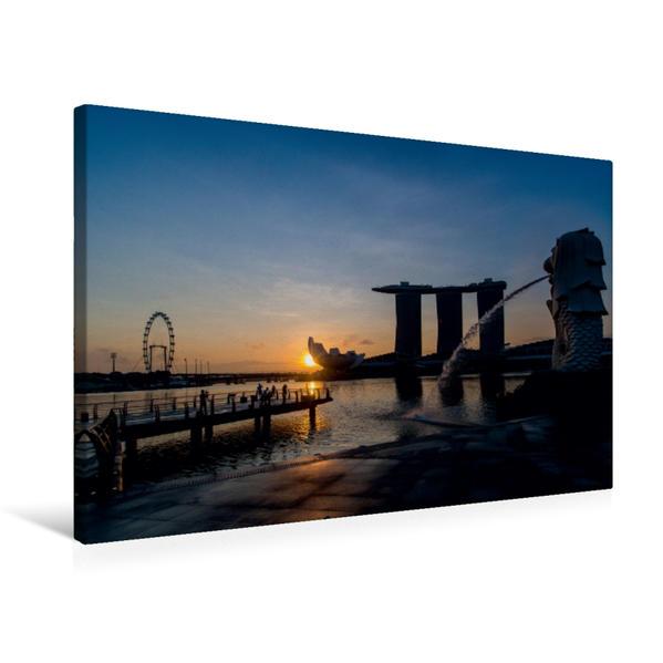 Premium Textil-Leinwand 75 cm x 50 cm quer, Sonnenaufgang am Merlion in Singapur   Wandbild, Bild auf Keilrahmen, Fertigbild auf echter Leinwand, Leinwanddruck - Coverbild