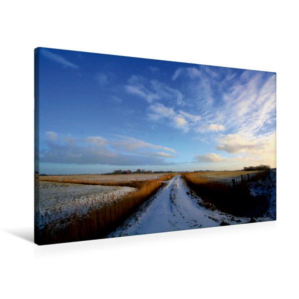 Premium Textil-Leinwand 90 cm x 60 cm quer, Winterliche Felder in Butjadingen   Wandbild, Bild auf Keilrahmen, Fertigbild auf echter Leinwand, Leinwanddruck - Coverbild