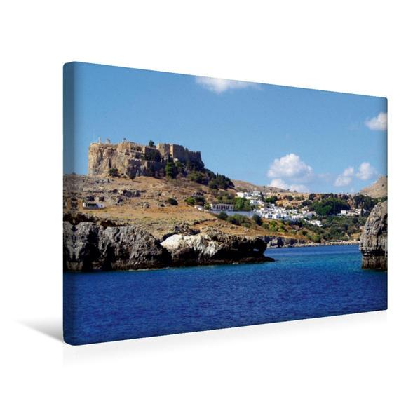 Premium Textil-Leinwand 45 cm x 30 cm quer, Akropolis und Hafeneinfahrt von Lindos | Wandbild, Bild auf Keilrahmen, Fertigbild auf echter Leinwand, Leinwanddruck - Coverbild