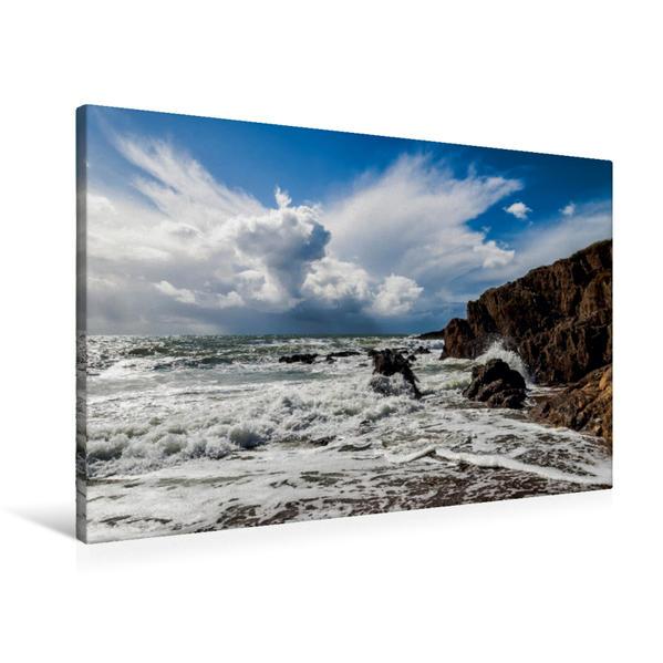 Premium Textil-Leinwand 90 cm x 60 cm quer, Meer und Wolken #06 | Wandbild, Bild auf Keilrahmen, Fertigbild auf echter Leinwand, Leinwanddruck - Coverbild