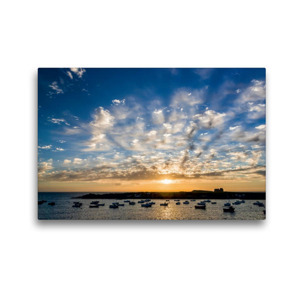 Premium Textil-Leinwand 45 cm x 30 cm quer, Meer und Wolken #09 | Wandbild, Bild auf Keilrahmen, Fertigbild auf echter Leinwand, Leinwanddruck - Coverbild