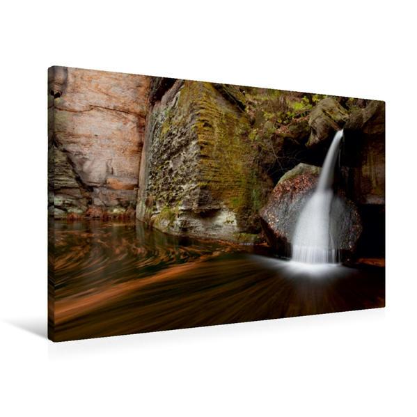 Premium Textil-Leinwand 90 cm x 60 cm quer, Wasserfall im Gelobtbachtal | Wandbild, Bild auf Keilrahmen, Fertigbild auf echter Leinwand, Leinwanddruck - Coverbild