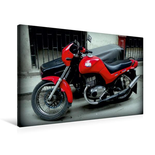 Premium Textil-Leinwand 75 cm x 50 cm quer, Motorrad JAWA 350 aus der CSSR in Havanna | Wandbild, Bild auf Keilrahmen, Fertigbild auf echter Leinwand, Leinwanddruck - Coverbild