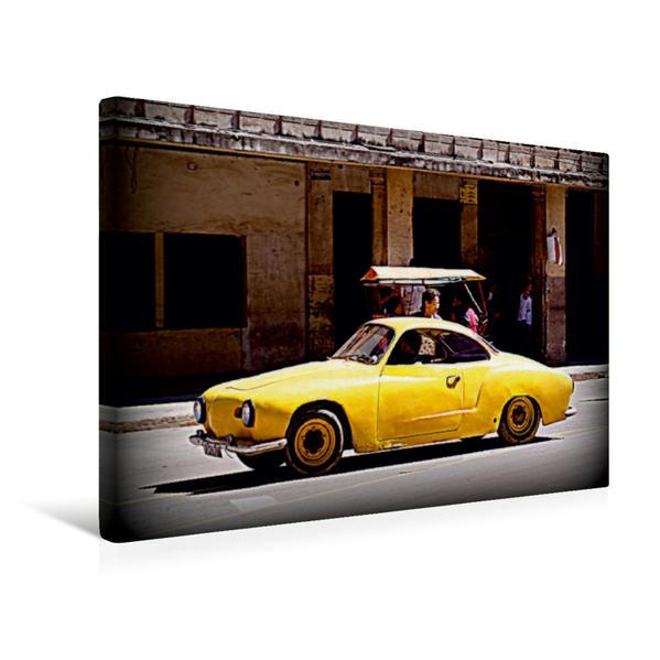 Premium Textil-Leinwand 45 cm x 30 cm quer, Gelber KARMANN GHIA in Havanna | Wandbild, Bild auf Keilrahmen, Fertigbild auf echter Leinwand, Leinwanddruck - Coverbild