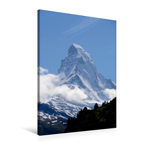 Premium Textil-Leinwand 60 cm x 90 cm hoch, Wolkenstimmung am  Matterhorn - Zermatt   Wandbild, Bild auf Keilrahmen, Fertigbild auf echter Leinwand, Leinwanddruck - Coverbild