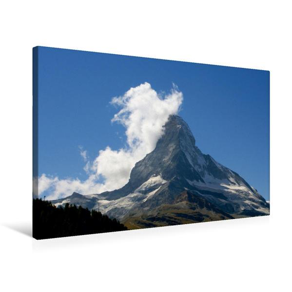 Premium Textil-Leinwand 75 cm x 50 cm quer, Die Natur zeigt Herz am Matterhorn - Zermatt   Wandbild, Bild auf Keilrahmen, Fertigbild auf echter Leinwand, Leinwanddruck - Coverbild