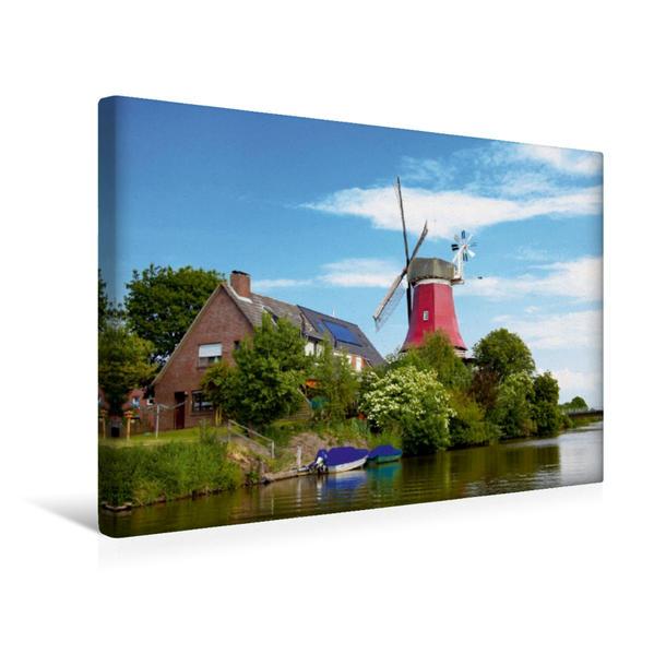 Premium Textil-Leinwand 45 cm x 30 cm quer, Rote Mühle wasserseits | Wandbild, Bild auf Keilrahmen, Fertigbild auf echter Leinwand, Leinwanddruck - Coverbild