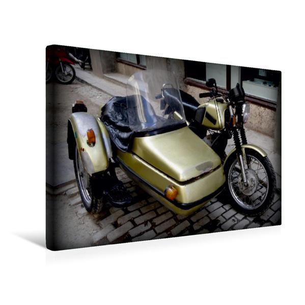 Premium Textil-Leinwand 45 cm x 30 cm quer, Motorrad-Gespann in Havanna | Wandbild, Bild auf Keilrahmen, Fertigbild auf echter Leinwand, Leinwanddruck - Coverbild