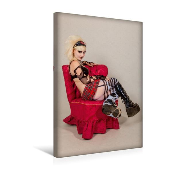 Premium Textil-Leinwand 30 cm x 45 cm hoch, Roter Sessel mit Punkgirl | Wandbild, Bild auf Keilrahmen, Fertigbild auf echter Leinwand, Leinwanddruck - Coverbild