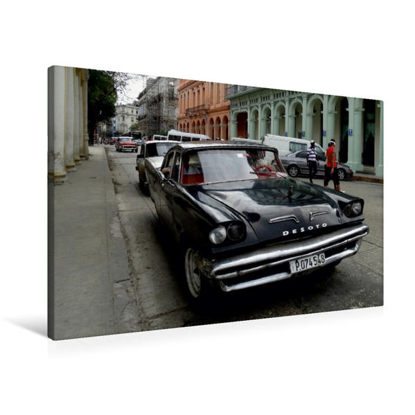 Premium Textil-Leinwand 90 cm x 60 cm quer, Ein Motiv aus dem Kalender Auto Legenden DESOTO | Wandbild, Bild auf Keilrahmen, Fertigbild auf echter Leinwand, Leinwanddruck - Coverbild