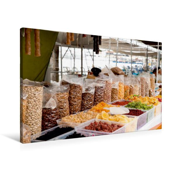 Premium Textil-Leinwand 90 cm x 60 cm quer, Soutzouko, Glyko und Nüsse auf dem Wochenmarkt | Wandbild, Bild auf Keilrahmen, Fertigbild auf echter Leinwand, Leinwanddruck - Coverbild
