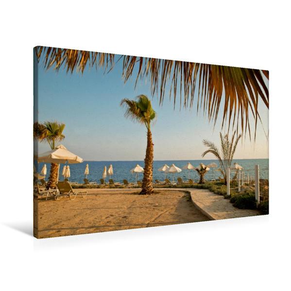 Premium Textil-Leinwand 90 cm x 60 cm quer, Abendstimmung auf Zypern | Wandbild, Bild auf Keilrahmen, Fertigbild auf echter Leinwand, Leinwanddruck - Coverbild