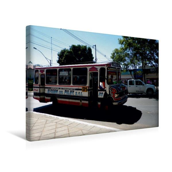 Premium Textil-Leinwand 45 cm x 30 cm quer, Ein Motiv aus dem Kalender Busse in Asuncion | Wandbild, Bild auf Keilrahmen, Fertigbild auf echter Leinwand, Leinwanddruck - Coverbild
