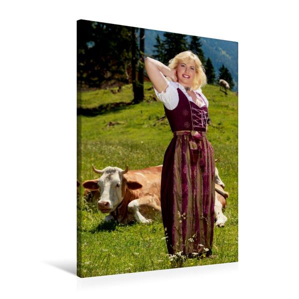 Premium Textil-Leinwand 60 cm x 90 cm hoch, Sonntags auf der Alm | Wandbild, Bild auf Keilrahmen, Fertigbild auf echter Leinwand, Leinwanddruck - Coverbild
