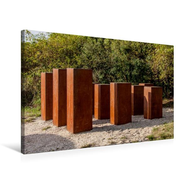 Premium Textil-Leinwand 75 cm x 50 cm quer, Stelengarten am Schwanberg, zeigt was die in den größten Weinländern der Welt produziert wird.   Wandbild, Bild auf Keilrahmen, Fertigbild auf echter Leinwand, Leinwanddruck - Coverbild