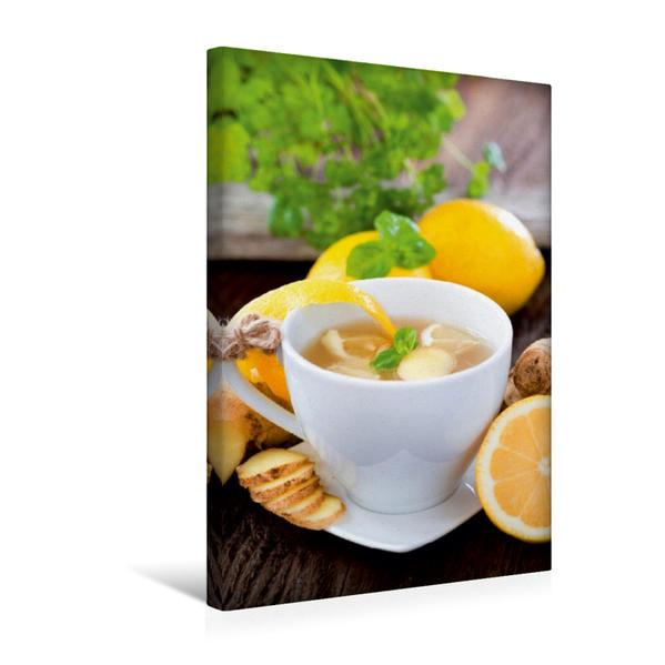 Premium Textil-Leinwand 30 cm x 45 cm hoch, Ingwer-Zitronen-Tee | Wandbild, Bild auf Keilrahmen, Fertigbild auf echter Leinwand, Leinwanddruck - Coverbild