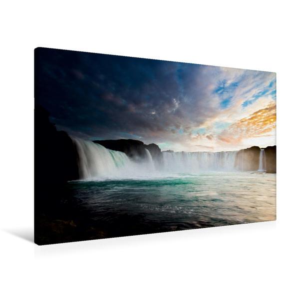 Premium Textil-Leinwand 90 cm x 60 cm quer, Goðafoss   Wandbild, Bild auf Keilrahmen, Fertigbild auf echter Leinwand, Leinwanddruck - Coverbild
