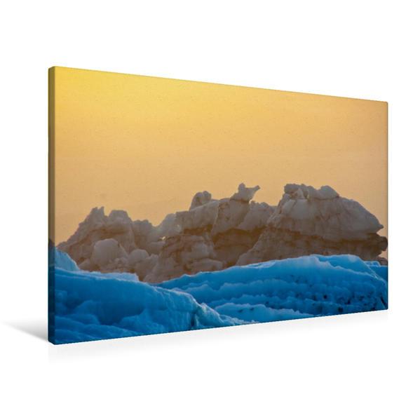 Premium Textil-Leinwand 90 cm x 60 cm quer, Eisberge der Gletscherlagune | Wandbild, Bild auf Keilrahmen, Fertigbild auf echter Leinwand, Leinwanddruck - Coverbild
