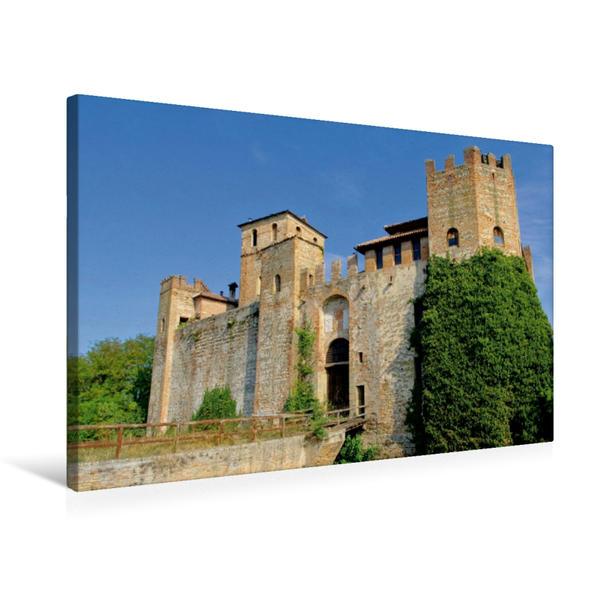 Premium Textil-Leinwand 75 cm x 50 cm quer, Burg Valbona | Wandbild, Bild auf Keilrahmen, Fertigbild auf echter Leinwand, Leinwanddruck - Coverbild