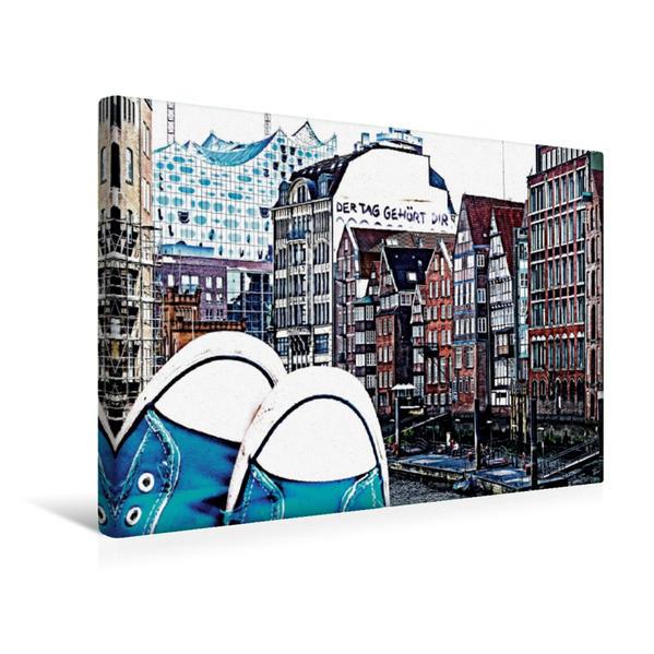 Premium Textil-Leinwand 45 cm x 30 cm quer, meine Schuhe und ich im poppigen Hamburg | Wandbild, Bild auf Keilrahmen, Fertigbild auf echter Leinwand, Leinwanddruck - Coverbild