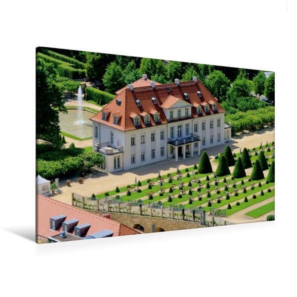 Premium Textil-Leinwand 120 cm x 80 cm quer, Schloss Wackerbarth | Wandbild, Bild auf Keilrahmen, Fertigbild auf echter Leinwand, Leinwanddruck - Coverbild